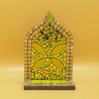 uniek mozaiek altaartje bloem geel goud