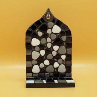 uniek mozaiek altaartje zwart wit grijs