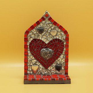 uniek mozaiek altaartje hart rood zilver