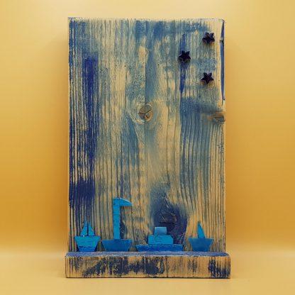schilderij steigerhout blauw