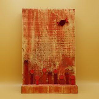 schilderij steigerhout rood