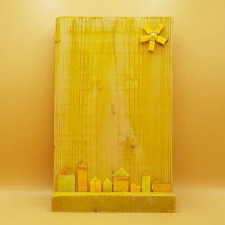 schilderij steigerhout geel