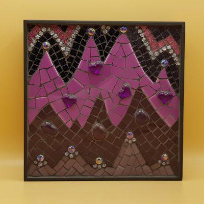 uniek mozaiek schilderij paarse toppen