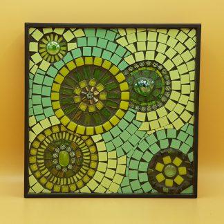 uniek mozaiek schilderij groene cirkels