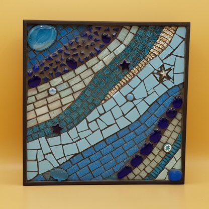 uniek mozaiek schilderij blauwe golven