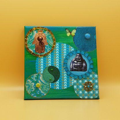 schilderijtje mixed media buddha