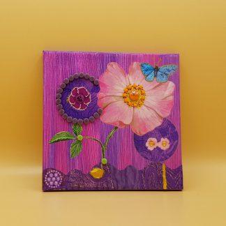 schilderijtje met steentjes paars