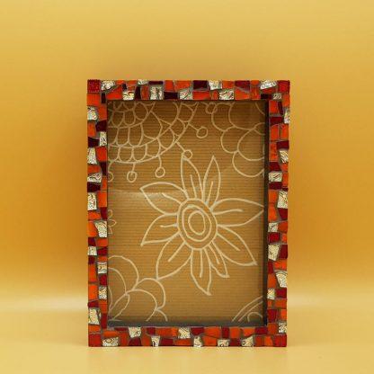 uniek mozaiekfotolijst oranje/rood/zilver