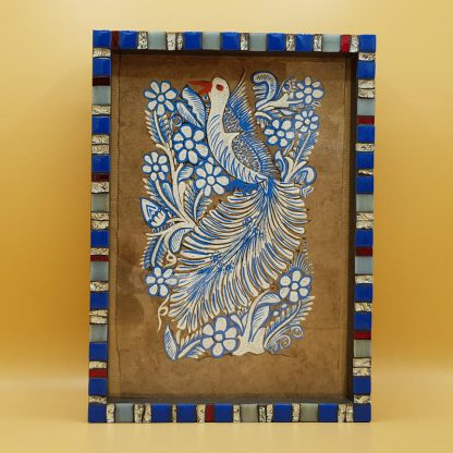 uniek mozaiekfotolijst vogel blauw