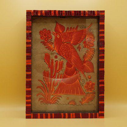 uniek mozaiekfotolijst vogel rood
