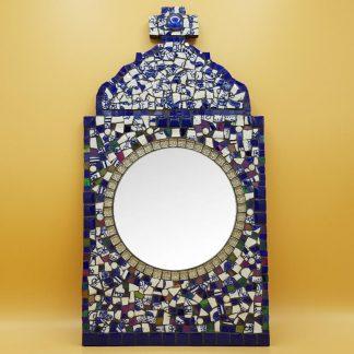 uniek mozaiek spiegel delftsblauw