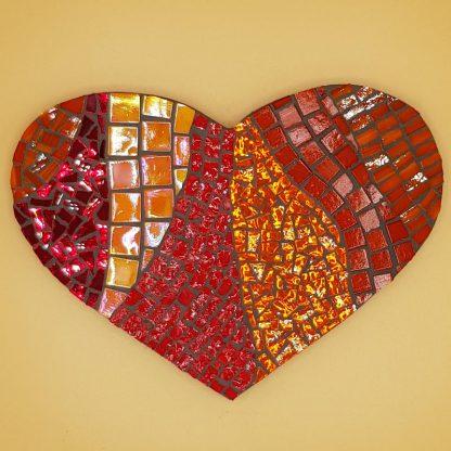 uniek mozaiek hart rood oranje goud