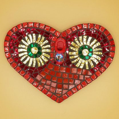 uniek mozaiek hart rood klompje