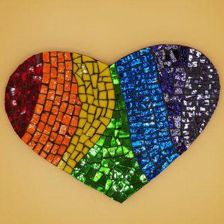 uniek mozaiek hart regenboog