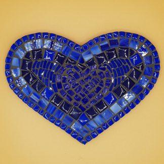 uniek mozaiek hart blauw