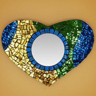 uniek mozaiek hart met spiegel
