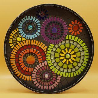 unieke mozaiek kaarsentableau cirkels