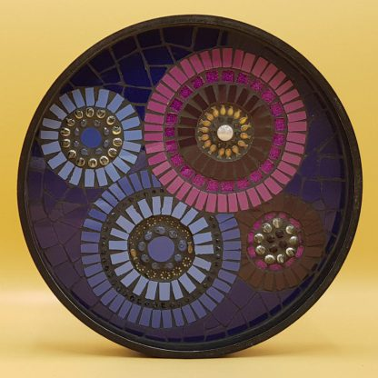 unieke mozaiek kaarsentableau blauw/paars