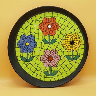 unieke mozaiek dienblad met bloemen
